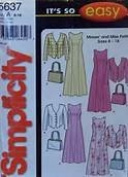 UNCUT & OOP SIMPLICITY 5637 MISSES' DRESS, JACKET & PURSE SEWING PATTERN SIZE