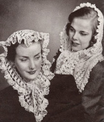 Vintage Crochet & Knitting PATTERN to make - One Knitted and One Crocheted Fascinator Head Scarf. NOT a finished item. This is a pattern and/or instructions to make the item only.