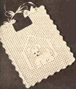 Vintage Crochet PATTERN to make - Fillet CROCHET BABY BIB Dog House Puppy. NOT a finished item. This is a pattern and/or instructions to make the item only.