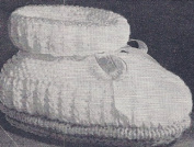 Vintage Knitting PATTERN to make - Poofy Baby Booties Soft Shoes. NOT a finished item. This is a pattern and/or instructions to make the item only.