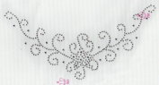 V Neckline Iron On Hot Fix Rhinestone Transfer -- AB Clear