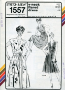 Stretch & Sew Pattern 1557 ~ Ladies' V-Neck Flared Dress ~ Bust 28-44