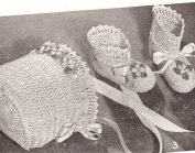 Vintage Crochet PATTERN to make - BABY High Booties Bonnet Thread Crochet. NOT a finished item. This is a pattern and/or instructions to make the item only.