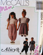 McCall's 5604 Sewing Pattern Little Girl Dress, Jumpsuit & Trim for Socks