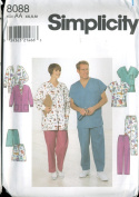 Simplicity Sewing Pattern 8088 Scrubs - Misses', Men's and Teens' Jacket, Top and Pants or Shorts