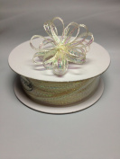 0.3cm 50 Yards Ivory Organza Iridescent Centre with String Pull Ribbon Bow