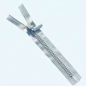 18cm Rhinestone Zippers Closed Bottom ~ Czech Rhinestone Zipper ~ Dual-strand ~ Light Grey