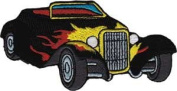Black Roadster with Flames - Car Culture - Iron on or Sew on Embroidered Patch