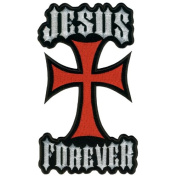 Embroidered Iron On Patch - Jesus Forever Cross 13cm x 7.6cm Patch