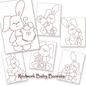 Baby Bunnies Redwork Embroidery Machine Designs on CD - Multiformat