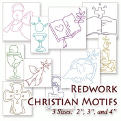 Christian Motifs #1 Redwork Religious Embroidery Machine Designs on CD - Multiformat