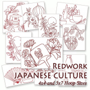 Japanese Culture Redwork Oriental Embroidery Machine Designs on CD - Multiformat