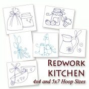 Kitchen Things Redwork Cooking Time Embroidery Machine Designs on CD - Multiformat