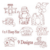 Noahs Ark and Animals Redwork Embroidery Machine Designs on CD - Multiformat