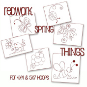 Redwork Whimsical Spring Things Embroidery Machine Designs on CD - Multiformat