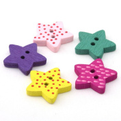YARUIE 200Pcs Printed 2 Holes Star Shape Wodden Sewing Buttons Multicolour