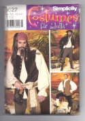 Men's Pirate Costume Simplicity Pattern 0627 SizeAA XS,S,M
