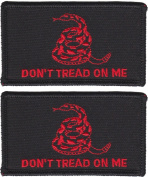 MADE IN USA Don't Tread On Me Gadsden Tactical Patch (2 PACK - WITH hook and loop Black and Red