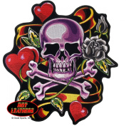 Embroidered Iron On Patch - Skull Hearts Roses Biker 13cm x 13cm Patch