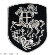 ST.GEORGE ON HORSE SLAYING DRAGON CROSS SHIELD CHRISTIAN PATCH SILVER EMBROIDERY