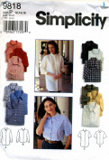 Simplicity Women's Shirt Sewing Pattern Four Views # 9818