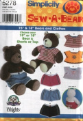 Simplicity 5278 - Sew-a-Bear - Clothes for 38cm and 46cm Bears - Short or Tops