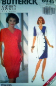 UNCUT Butterick 6033 1990s Kathryn Conover NY Misses Dress Sizes 12, 14, 16