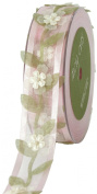 May Arts 2.5cm Wide Ribbon, Light Pink Sheer with Floral Vine