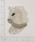 Horse Head Sequin Applique - Crystal Aurora Borealis