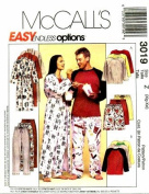 McCall's 3019 Sewing Pattern Unisex Robe Top Pants Shorts Pyjamas Bust / Chest 42 - 48