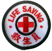 Foreign Novelty Iron On Patch - Life Saving Chinese Red Cross Logo Applique