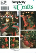 Simplicity 9748 Crafts Sewing Pattern Christmas Tree Skirt Stocking Ornaments Table Runner Place Mat Napkin Mantel Scarf