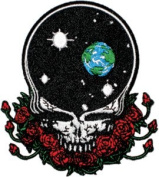 Grateful Dead Garcia Space your Face W/ Roses Embroidered Iron on Patch