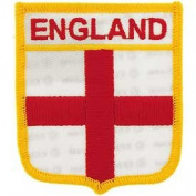 Novelty Embroidered Iron on Patch - International Flag Sheild Collection - England Crest Applique