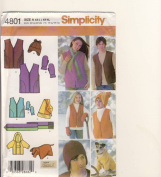 Simplicity Sewing Pattern 4801 - Use to Make - Fleece Items - Unisex Child's (XS-L), Teens' and Adults' (XS-XL) Vest, Hats, Scarf, Mittens, Dog Coat and Pillow