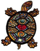 5.7cm Stained Glass Turtle Animal Embroidered Patch