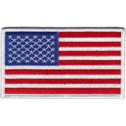 Novelty Iron on American Pride Patch - USA American Flag RED White Blue Logo Applique