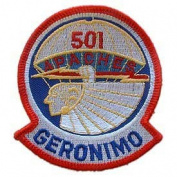 US Army Military Armed Forces Iron On Patch - Airborne & Air Assault - 501st Airborne Geronimo Applique