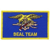 US Navy Military Iron On Patch - Seal Teams - Seal Team Flag Logo Applique