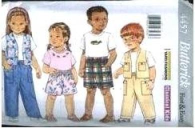 Butterick Sewing Pattern 4457 Children's Top, Vest, Shorts & Pants, Size 4-5-6