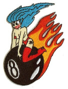 Dean Lee Norton Artist Patch - 8.3cm Topless Sexy Babe on Flaming 8 Ball Patch