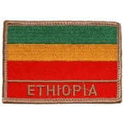 International World Countries Rectangle Flag Iron On Patch - Ethiopia Applique