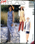 McCall's 7128 Misses' Unlined Vest in 3 Lengths, Tunic, Pull-on Pants & Skirt, Size A 6 8 10