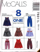 McCall's 7831 Toddler Jumper and Jumpsuit with Optional Snap Crotch, Size CB 1 2 3