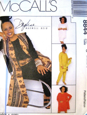 McCall's Sewing Pattern 8844 Misses' Unlined Vest in 2 Lengths, Tunic, Pull-on Pants, Skirt & Sash, Size C (10 12 14)