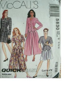 MISSES UNLINED JACKET AND SPLIT-SKIRT IN 2 LENGTHS SIZE 8-10-12 MCCALLS QUICK & EASY CUT TO FIT PATTERN 5830