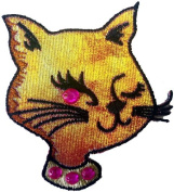 Novelty Animal Iron On Patch - Sexy Iridecent Kitty Kitten Cat Head w/ Crystal Eye Applique
