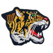 Novelty Iron On Animal Patch - Fierce Tiger Cat Head Face Applique