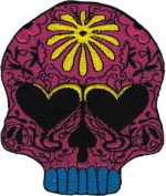 Novelty Iron on Patch - Skull Candy Skull Flower Power - Patch - Applique