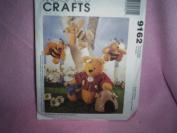 OOP McCalls Crafts Pattern 9162. Stuffed Hunny Bears